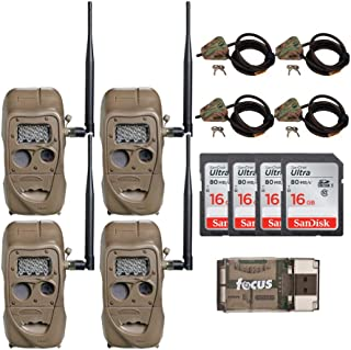 Cuddeback CuddeLink J Series Long Range IR 20MP Trail Camera 4-Pack with Python Cable and 16GB Card
