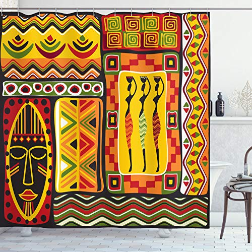Ambesonne African Shower Curtain, Elements Historical Original Striped and Rectangle Shapes Design, Cloth Fabric Bathroom Decor Set with Hooks, 75' Long, Scarlet Yellow