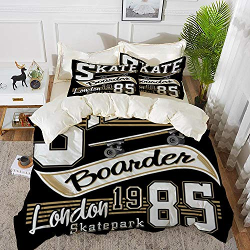 Duvet Cover Set, Bed Sheets, London Skate Board Typography Graphics,Microfibre Duvet Cover Set 240 x 260 cmwith 2 Pillowcase 50 X 80cm