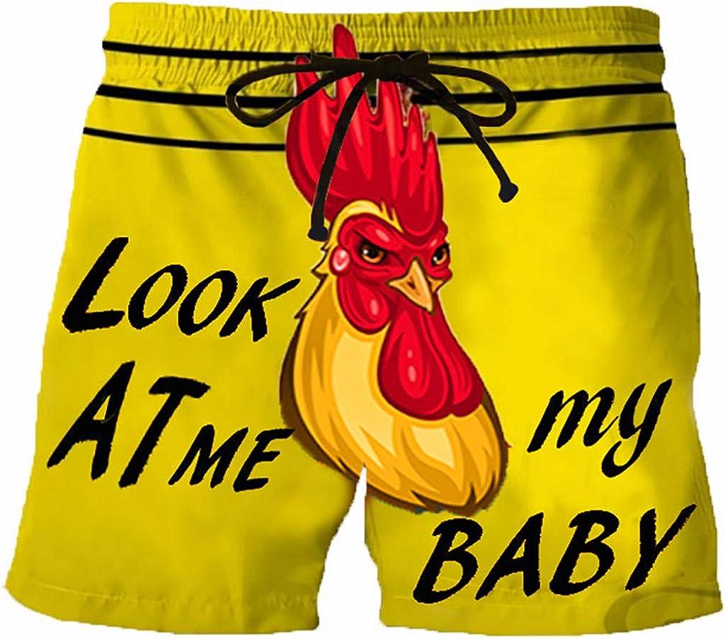 aihihe Men's Swimwear Sports Running Shorts Swim Trunks Quick Dry Lightweight with Pocket Cock Printed Beach Short Pants