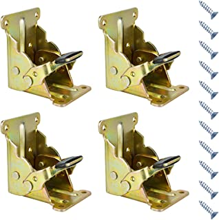 Folding Brackets 4 Pcs 90 Degree Lock Extension Support for Table Bed Leg Gold Steel Foldable Hinge Hardware with Screws (...