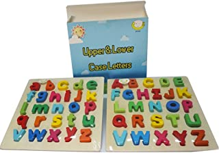 Ponny Set of 2 Preschool Puzzle Uppercase & Lowercase Alphabet Wooden Letters ABC Learning Board for Toddlers