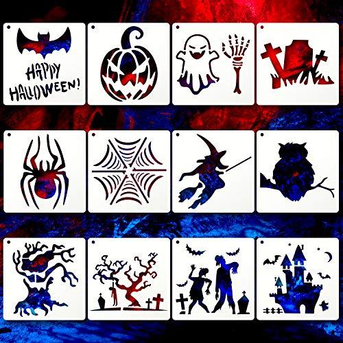 12 Stücke Halloween DIY Dekorative Schablonen Halloween Design Schablonen Vorlage Wiederverwendbare Kunststoff Kürbisse Schablone Handwerk zum Malen Zeichnen Sprühen