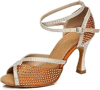 YKXLM Scarpe da Ballo Latino Americano Donna/Bambina Peep Toe Strass Salsa Modern Tango Scarpa da Ballo,Modello YCL451