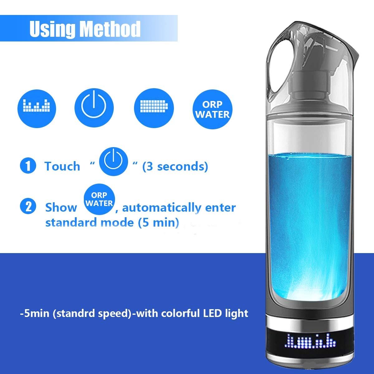 Botella agua rica en hidrógeno antienvejecimiento saludable 500ML pantalla LED