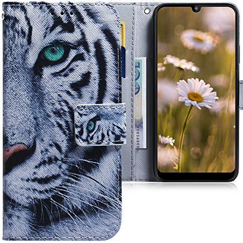 CLM-Tech Hülle kompatibel mit Motorola Moto E6 Plus - Tasche aus Kunstleder - Klapphülle mit Ständer & Kartenfächern, Tiger weiß schwarz