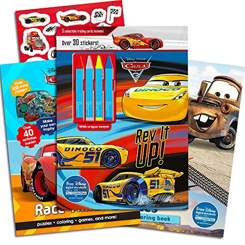 Disney Cars Coloring Book Super Set Kids Toddlers -- 3 Deluxe Cars Activity Books with Over 100 Stickers and Crayons (Disney Cars Collection)