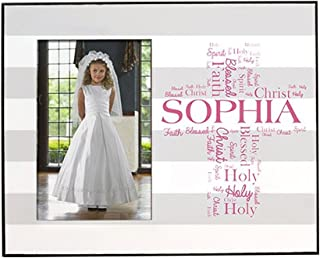 GiftsForYouNow First Communion Personalized Picture Frame, Pink