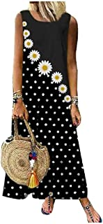 Doufine Women Tank Top Floral Printed Casual Swing Sleeveless Long Maxi Dress