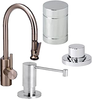 Waterstone 5800-4-WT Standard Reach PLP Pull Down Faucet with Soap/Lotion Dispenser, Air Gap and Air Switch, White