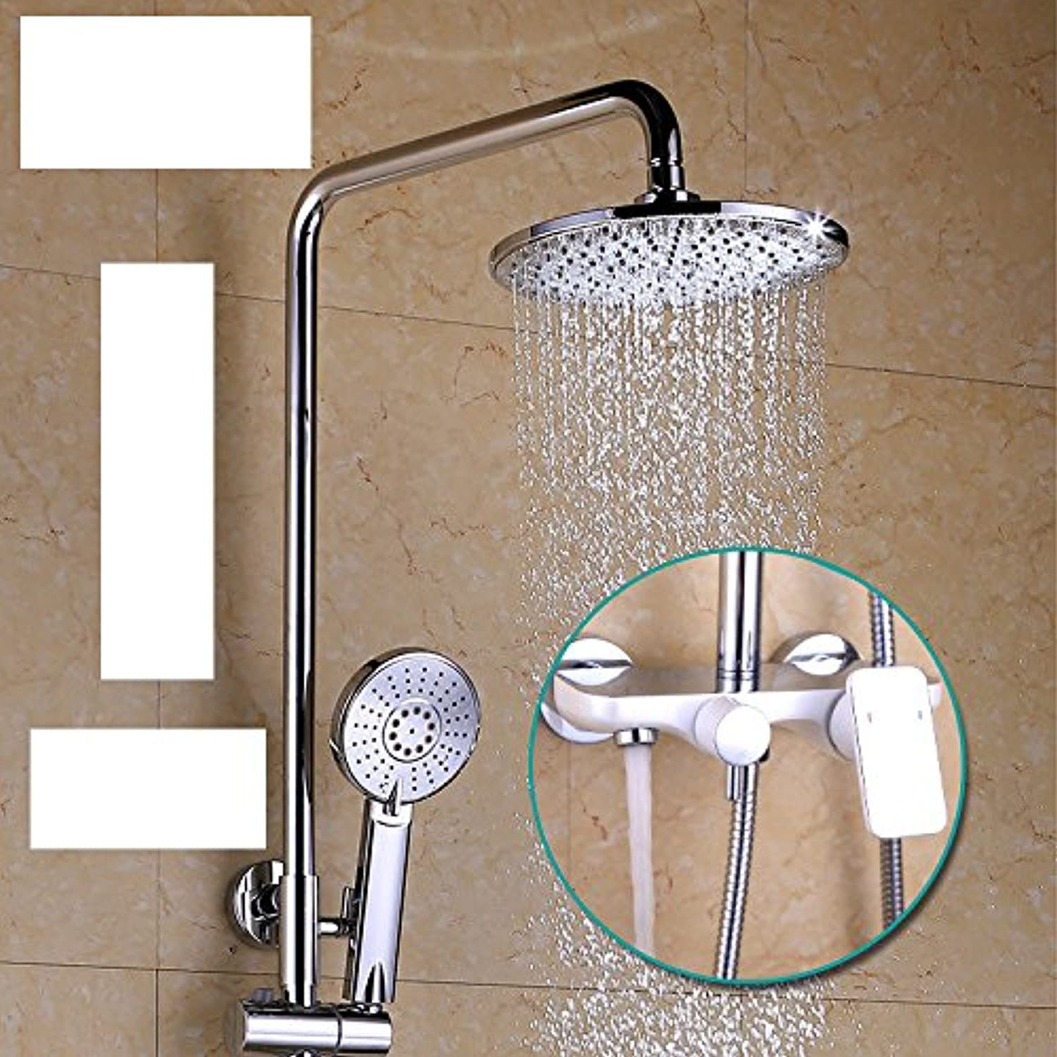 ZXYWhite paint shower, luxurious bright rod, shower shower, all copper home shower