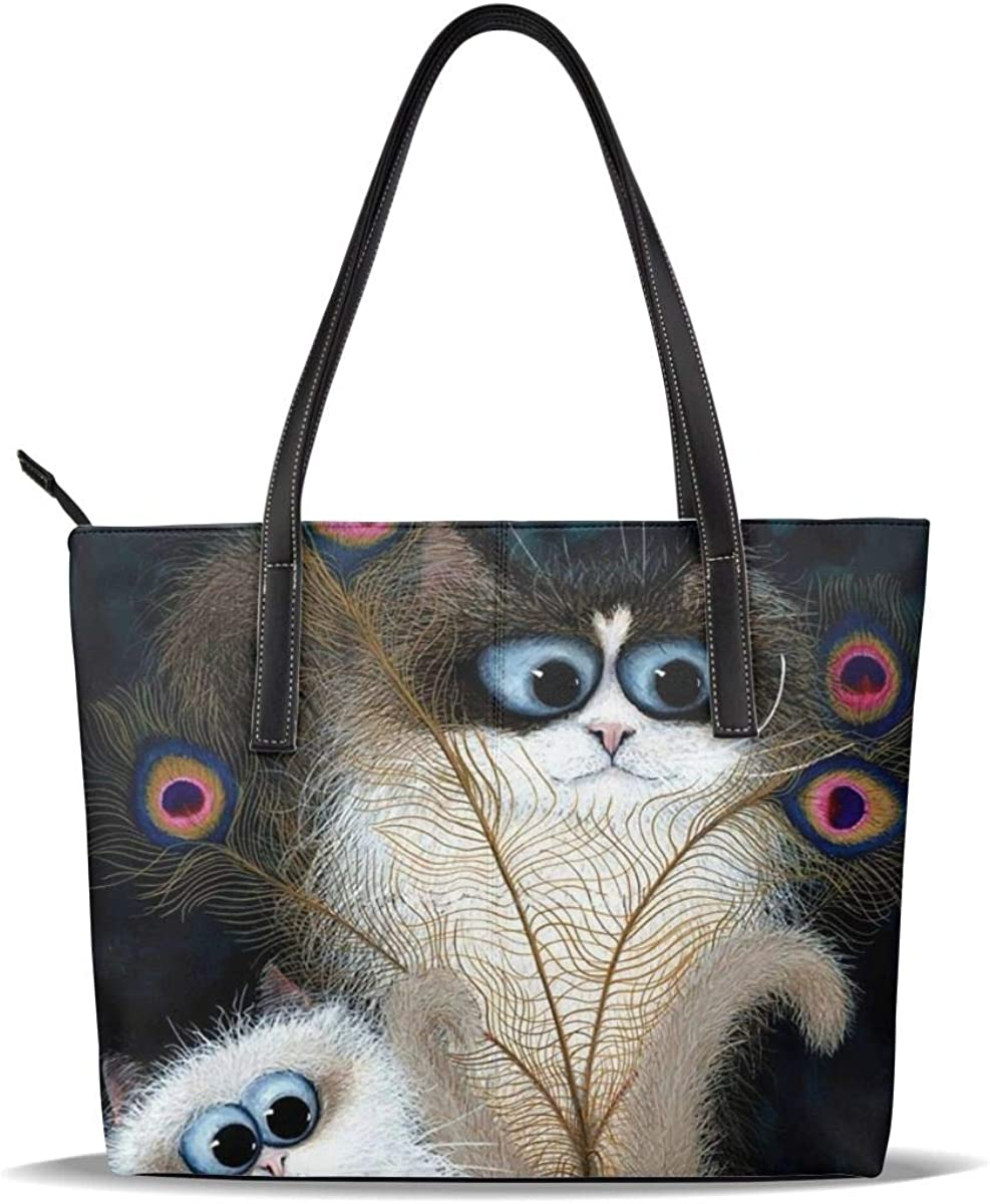 Peacock Feathers Three Lovely Siamese Printed Cat Beauty products Pat Pu Leather Cheap SALE Start
