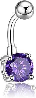 Candyfancy Opal Belly Button Rings 14G Surgical Steel Navel Rings Navel Piercing Earrings Opal Barbell Stud Women Men