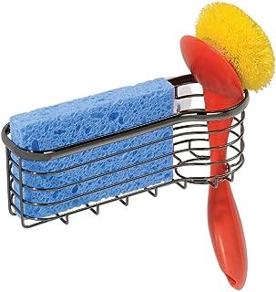 mDesign Metal Kitchen Sink Center Storage Caddy with Built-In Dishwashing Brush Holder- Suction Mount - Basket Holds: Pot ...