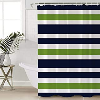 Anmevor Waterproof Polyester Shower Curtain,Navy Blue, Lime Green and White Stripe Fabric Bathroom Set with Hooks,72