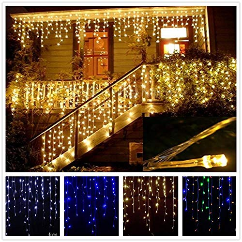 LAGEDOUDING 5M Christmas Lights Droop 0.4-0.6m Curtain Icicle String LED Lights 220V/110V  Garden Xmas Wedding Outdoor Decoration,Warm White,220V EU Plug