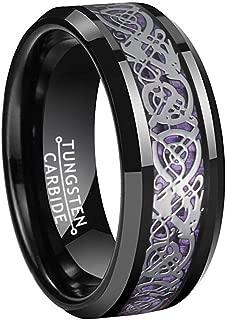 BestTungsten 8mm Black Tungsten Rings for Men Women Wedding Bands Purple Carbon Fiber Silver Dragon Inlay Comfort Fit