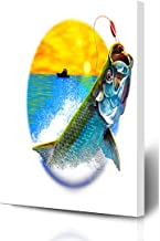 Ahawoso Canvas Prints Wall Art 8x10 Inches Ocean Green Fishing Tarpon Jumping Painting Variation Scales Wildlife Sports Recreation Blue Fish Wooden Frame Printing Home Living Room Office Bedroom