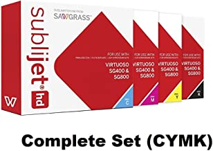 SUBLIJET HD Ink Cartridges for Sawgrass Virtuoso SG400/SG800 - COMPLETE SET (CMYK) - WITH 110 SHEETS OF SUBLIMATION PAPER - EVENTPRINTERS BRAND (Made in Japan)