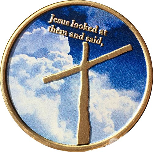 With God All Things Are Possible Cross In My Pocket Sky Clouds Bronze Color Medallion Token
