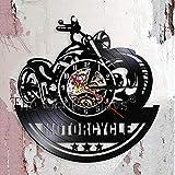 RRBOI Wanduhr 1 Stück Motorrad Fan Antike Schallplatte Wanduhr Motorradwerkstatt Wandkunst Biker...
