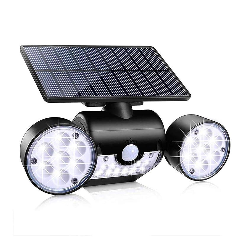 として幻影散髪ソーラーライトIP65防水ダブルヘッド回転イルミネーションウォールライト30 LED誘導ガーデン景観ライト安全で耐久性のある簡単にインストールします