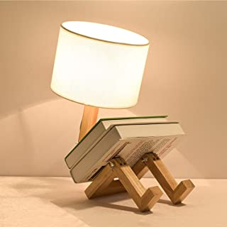 Cartoon Table Lamp, Creative Desk Lamp, White Fabric & Wood, Bedside Lamp with E27 Lamp Holder, Indoor Lighting for Desk a...