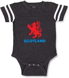 Scotland Contrasting Stripes Taped Neck Boys-Girls Cotton Baby Football Bodysuit Sports Jersey - Dark Gray, 6 Months