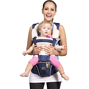 Bebamour New Style Designer Sling and Baby Carrier 2 in 1,Approved by U.S. Safety Standards with 2 Pieces Teething Pads,Dark Blue