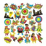 Baker Ross- Pegatinas de espuma con formas de superhéroes (Pack de 120) - Pegatinas de espuma con temática de superhéroes en divertidas formas para pegar en álbumes de recortes
