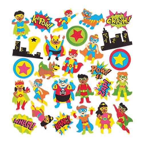 Baker Ross Adesivi in gommapiuma a tema supereroi (confezione da 120) - Adesivi a tema supereroi in divertenti forme