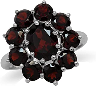 5.91ct. Natural Garnet White Gold Plated 925 Sterling Silver Flower Cluster Ring