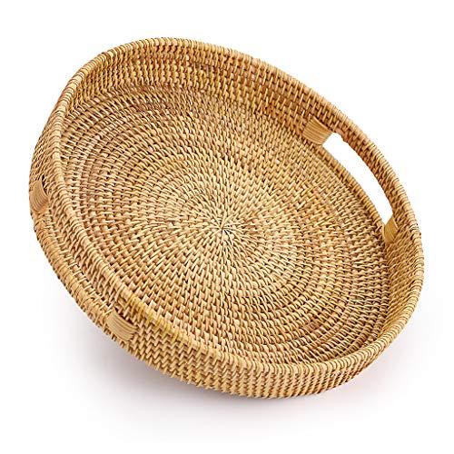 Sumnacon - Bandeja de servicio decorativa, bandeja de mimbre, organizador de mesa para desayuno, madera, frutas (redonda, 30 cm)