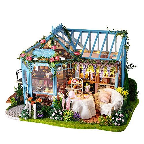 VKStar DIY Mini Villa Dollhouse Miniatures Collection Luxurious Villa Girls DIY Dollhouse Kits Teenagers Adults Handmade Toys Furniture Mini House with Dust Cover Music Box Girlfriends Romantic Gift