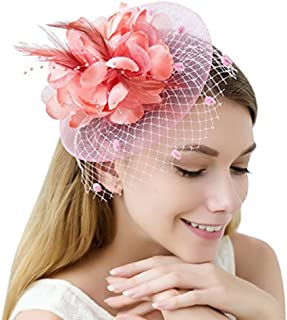 Women's Bow Feather Net and Veil Fascinator Cocktail Party Hair Clip Hat