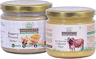 """Two Brothers Organic Farms Diwali Combo Pack"" - Jaggery Peanut Butter (300 GMS) and Desi Gir Cow A2 Cultured Ghee (250 ML..."