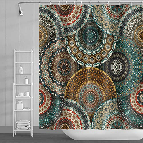 LFEEY Mandala Paisley Shower Curtain South Asian Decor Ethnic Vintage Floral Pattern Bohemian Shower Curtains Indian Bathroom Sets with Hooks,72x72 Inch Polyester Fabric with Hooks