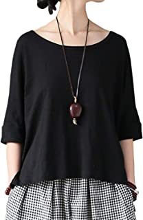 Aeneontrue Women's 100% Cotton Short Sleeve T-Shirts Casual Loose High Low Tees Blouses
