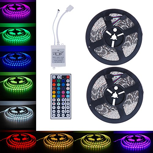 Led Strip Lights, Lary intel Led Strip Lights Kit SMD 5050 32.8 Ft (10M) Non-waterproof 300leds RGB 30leds/m with 44key Ir Controller for Trucks Boats Kicthen Bedroom and Sitting Room