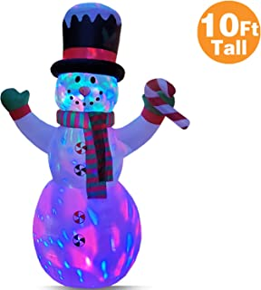 RETRO JUMP 10 Ft Christmas Inflatable Greeting Snowman Holding Candy Bar with Magic Hat & Scarf, Changing Colorful Lights Indoor Outdoor Yard Lawn Decoration, Xmas Giant Holiday Blow Up Party Display