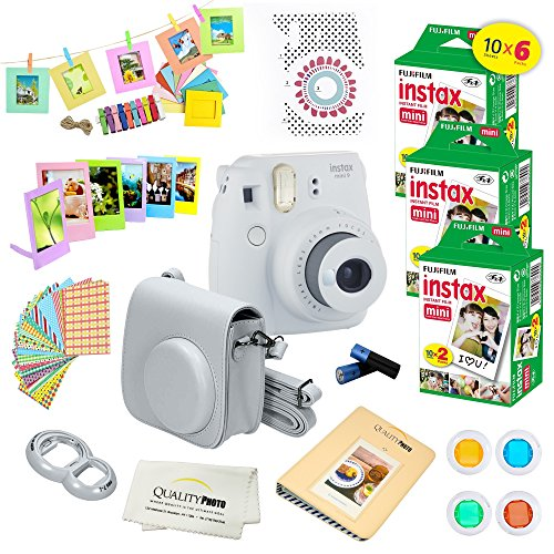 Fujifilm Instax Mini 9 Instant Camera Smokey White w/Fujifilm Instax Mini 9 Instant Films (60 Pack) + A14 Pc Deluxe Bundle for Fujifilm Instax Mini 9 Camera
