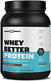 Whey Better Protein Powder (Isolate + Concentrate) Plus Digestive Enzymes like Protease and Papain: 4,950g Leucine to Recover Fast - Over 10,000mg of Amino Acids per Scoop - Milk Chocolate Shake Taste