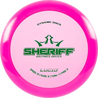 Dynamic Discs Lucid Sheriff Maximum Distance Driver | Stable Frisbee Golf Disc | 170g and Above | Stamp Colors Will Vary