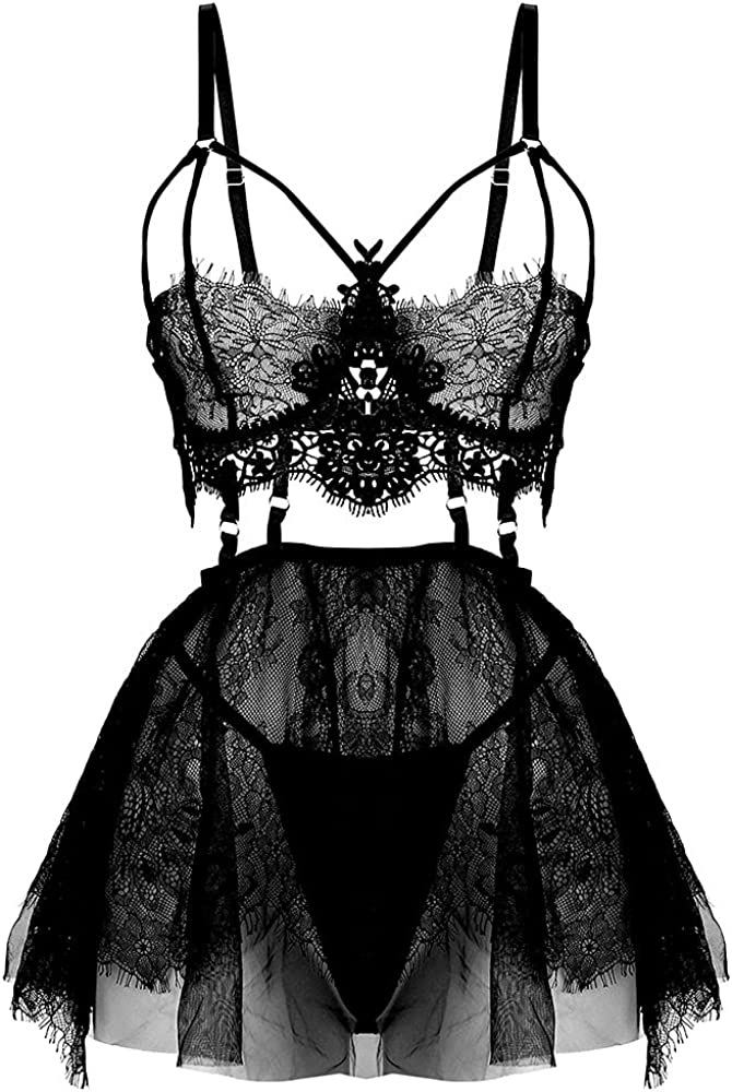 Plus Size Lingerie for Women Lace Black Babydoll Sexy Mesh High Waisted Nightdress Strappy Exotic Sleepwear