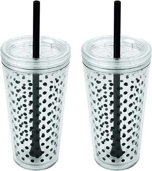 Copco Minimus Double Wall Insulated Tumbler with Removable Straw, 24 oz, Set of 2 (Black Dots)