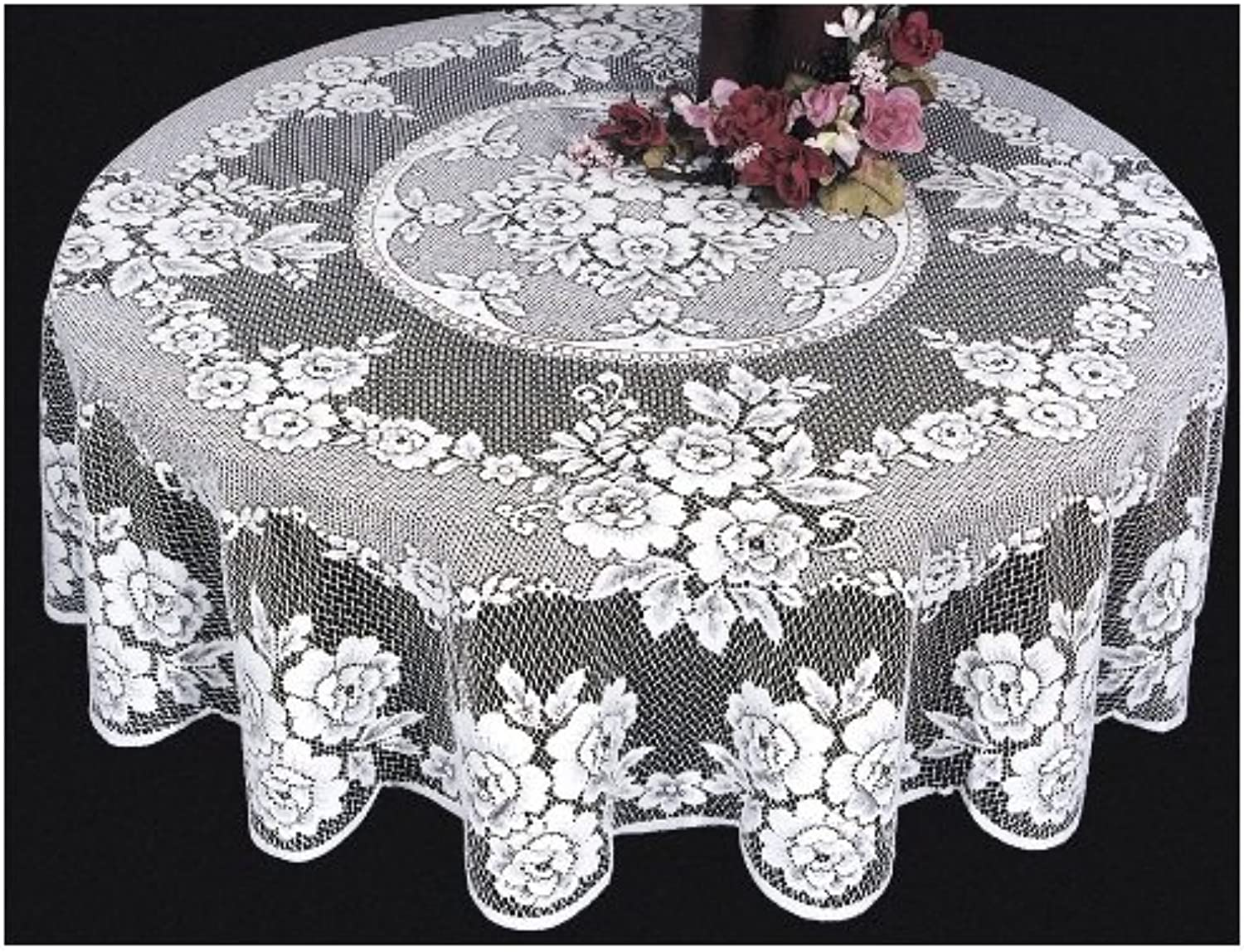 Heritage Lace Victorian pink 72-Inch Tablecloth, White