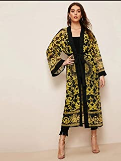 Scroll Print Belted Longline Kimono