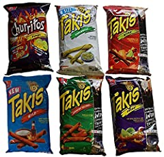 The Ultimate Takis Chips Sampler. Try all 6 flavors! Sampler includes One 9.9 oz Bag of each of the 6 Bags Pictures Flavors Include: Takis Feugo, Takis Nitro, Takis Crunchy Fajitas, Takis Guacamole, Takis Wild. Takis Tortilla Chips are Packed With Am...