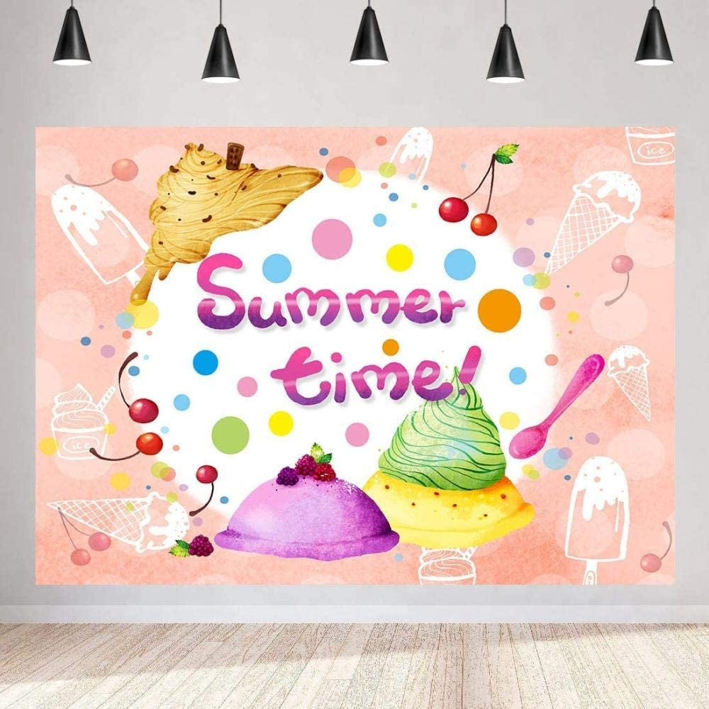 2.1x1.5m Sweet Ice Cream Background Party Decor Supplies Photo Shooting Props 156 Zhy Summer Time Backdrop for Photography 7x5ft