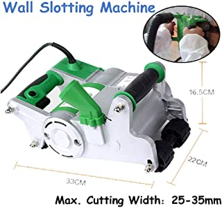ETE ETMATE 1100W Electric Wall Chaser Cutter Machine 25MM Blade,Self-priming Dedusting Wall Groove Cutting Machine,Industrial Wall Chaser Machine for Brick Granite Marble Concrete Cutter (Green Type)